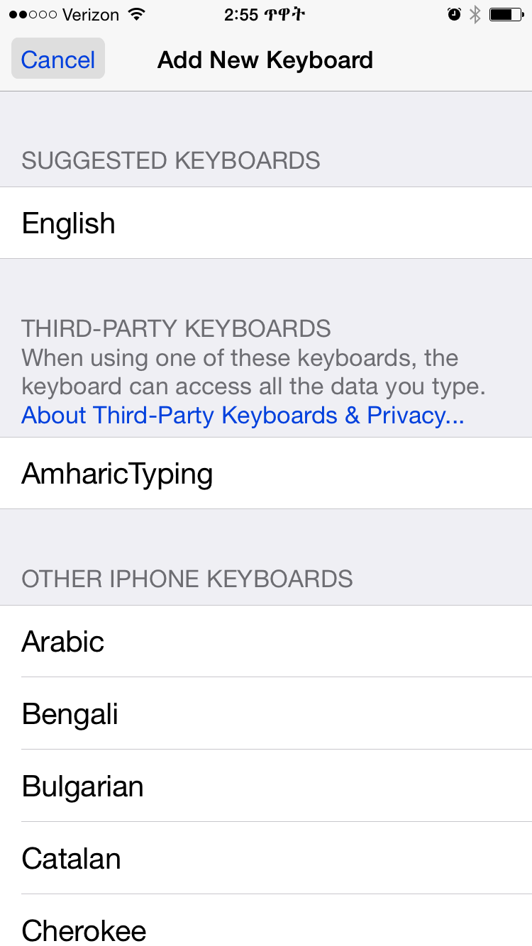 how to add amharic to iphone